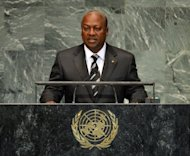File picture. John Dramani Mahama, President of Ghana, speaks during the 67th session of the United Nations General Assembly on September 26, 2012 at UN headquarters in New York.