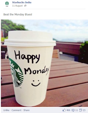 Social Media Strategy Review: Restaurants and Cafes image facebook post by starbucks india