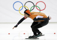 Gold medallist Michel Mulder of the Netherlands skates his way to gold during the second heat of the men's 500-meter speedskating race at the Adler Arena Skating Center at the 2014 Winter Olympics, Monday, Feb. 10, 2014, in Sochi, Russia. (AP Photo/Patrick Semansky)