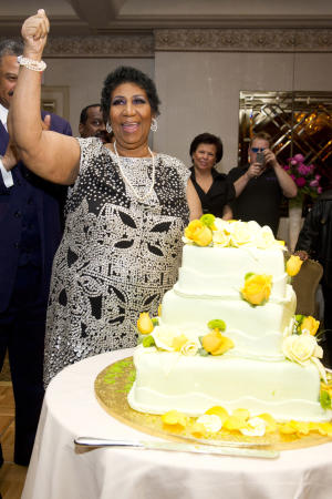 Aretha Franklin attends her seventieth birthday party in New York, Saturday, March 24, 2012. (AP Photo/Charles Sykes)