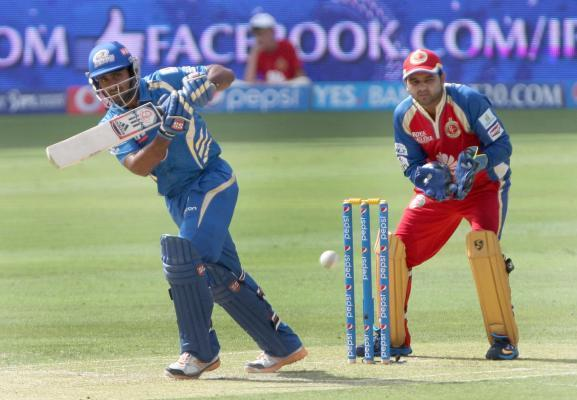 MI player Ambati Rayudu in action during the fifth match of IPL 2014 between Royal Challengers Bangalore and Mumbai Indians, played at Dubai International Cricket Stadium in Dubai of United Arab Emira