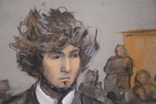 Boston Marathon bombing suspect Dzhokhar Tsarnaev is shown in a courtroom sketch during a pre-trial hearing at the federal courthouse in Boston, Massachusetts December 18, 2014. (REUTERS/Jane Collins)