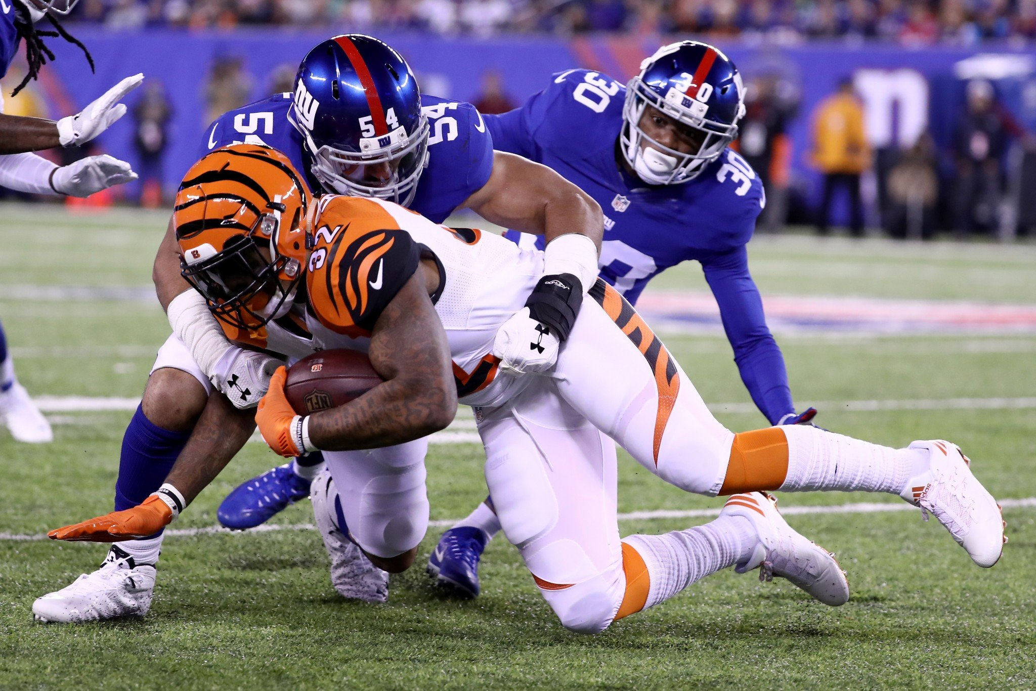 Olivier Vernon and the New York Giants delivered defensively in a win over the Cincinnati Bengals on Monday. (Getty Images)