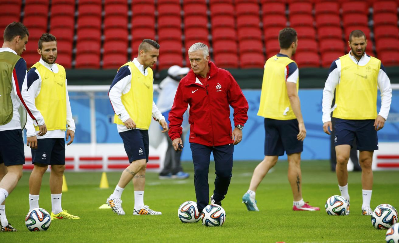 France's national soccer team coach Deschamps attends a training session at the Beira-Rio stadium in Porto Alegre