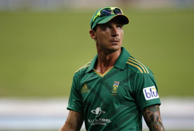 South Africa's Dale Steyn walks back after after taking three wickets during their first Twenty20 international cricket match against Pakistan in Dubai