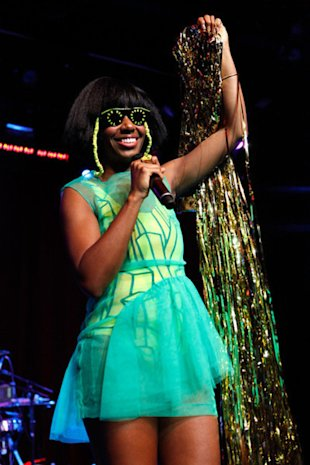 Singer Santigold performs at the Rolling Stone's Women Who Rock Concert at the Hard Rock Cafe sponsored by Belvedere Vodka in Times Square in New York City