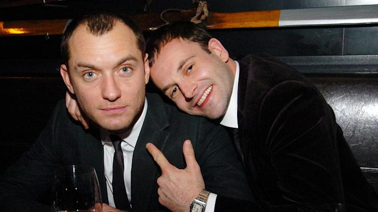 Jude Law, left, and Johnny Lee Miller celebrate Law's birthday at Company American Bistro December 8, 2007.