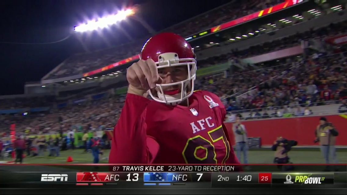 Kansas City Chiefs tight end Travis Kelce gets salty at the Pro Bowl. (Twitter)