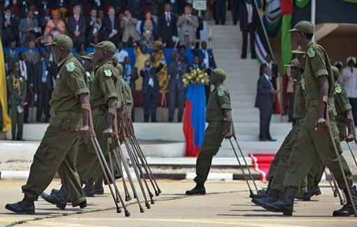 SPLA veterans wounded in action parade during the first independence anniversary of South Sudan