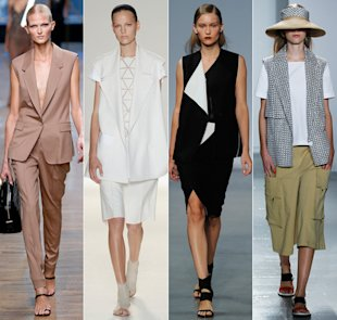 Spring 2014 runways, from left: Jason Wu, Victoria Beckham, Helmut Lang, Suno
