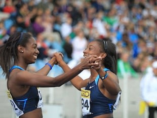 Jennifer Madu, on right, after winning the 100 meters at the World Youth Championships — Facebook
