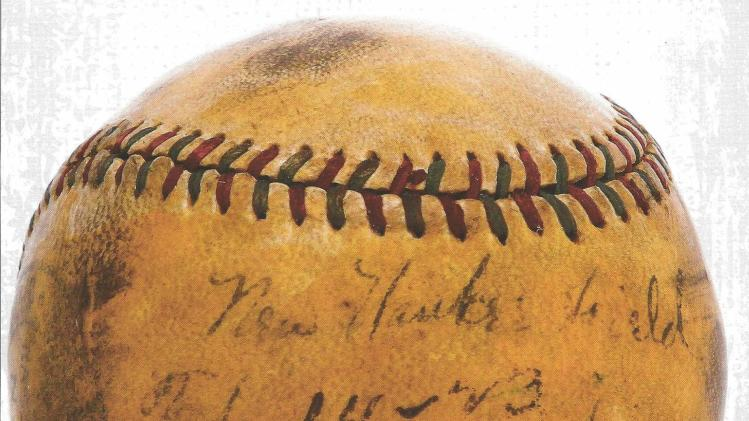 Handout picture of a baseball hit by legendary New York Yankees