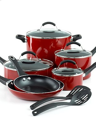 FarberWare Millennium Nonstick Aluminum 12 Piece Red Cookware Set