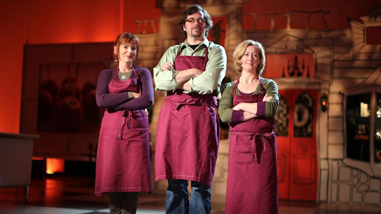 "Purple Team members Andrea Carusetta Michael Matiello, and Susan Notter on Food Network's ""Halloween Wars."""