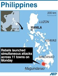 Map of the Philippines locating Maguindanao, where rebels armed with chainsaws and guns launched simultaneous attacks on Monday