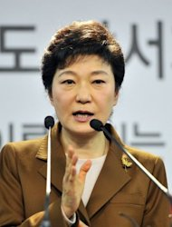 Park Geun-Hye, of the ruling New Frontier Party, speaks at a press conference in Seoul on November 5. According to the polls, Park would have easily won in the event of a three-horse race, but they put her neck and neck in a face-off with either Moon Jae-In or Ahn Cheol-Soo