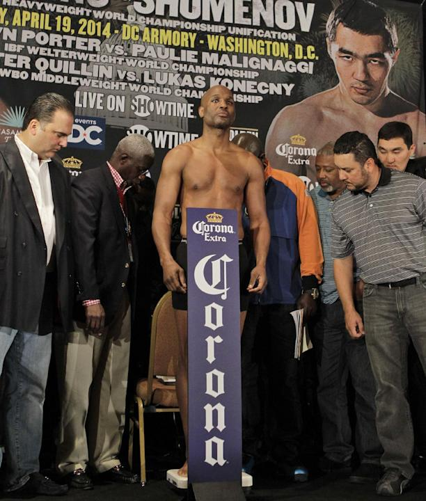 IBF light heavyweight boxing champion Bernard Hopkins weighs in Friday, April 18, 2014, in Washington. Hopkins will fight WBA and IBA light heavyweight boxing champion Beibut Shumenov, of Kazakhstan,d