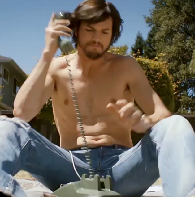 Ashton Kutcher, shirtless Steve Jobs