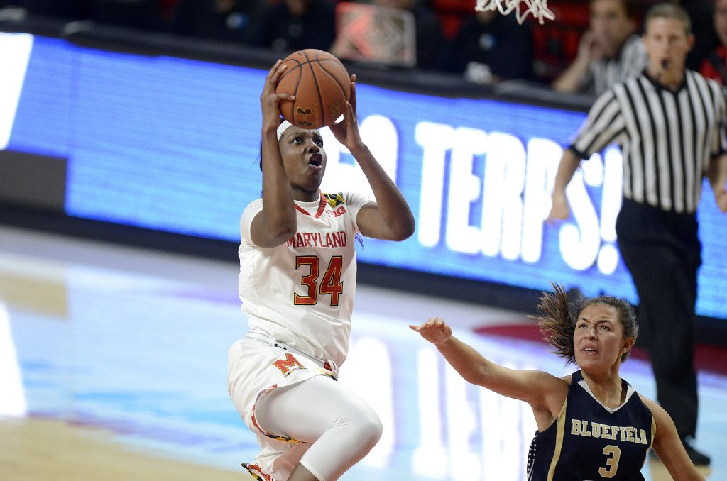 Brianna Fraser goes up for a layup (photo by Maryland Athletics)