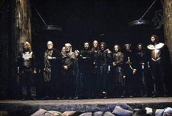Dennis Storhoi, Asbjorn Riis, Albie Woodington, Mischa Hausserman, Vladimir Kulich , Oliver Sveinall, Antonio Banderas , Tony Curran and Neil Maffin in The 13th Warrior