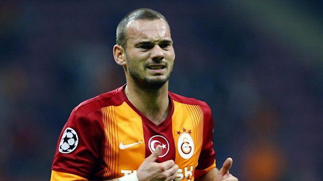 Wesley Sneijder of Galatasaray reacts during their Champions League Group D soccer match against Borussia Dortmund in Istanbul