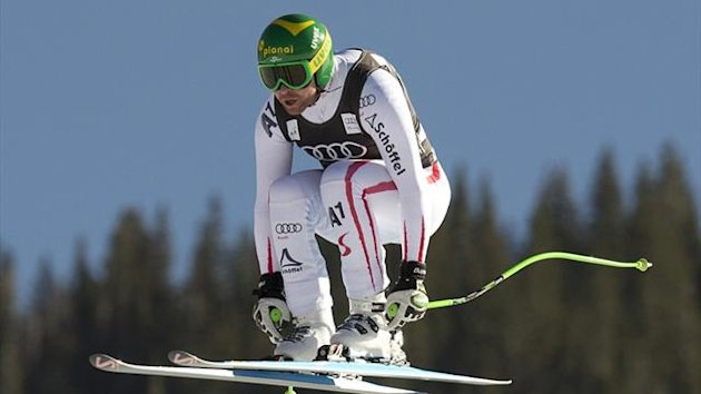Klaus Kroell of Austria flies through the air during men's downhill training at Beaver Creek (AFP)