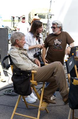 Harrison Ford , producer Kathleen Kennedy and producer George Lucas on the set of Paramount Pictures' Indiana Jones and the Kingdom of the Crystal Skull