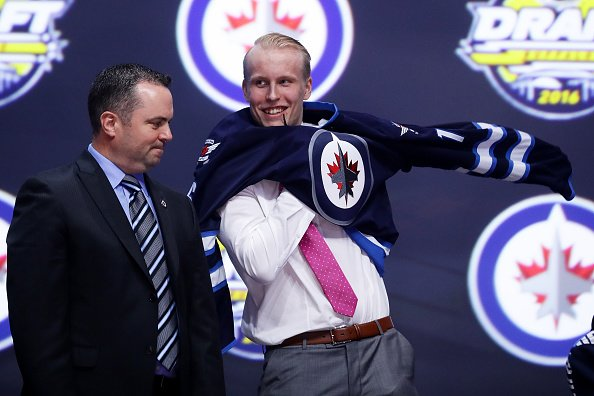 BUFFALO, NY - JUNE 24: Patrik Laine celebrates after being selected second overall by the Winnipeg Jets during round one of the 2016 NHL Draft on June 24, 2016 in Buffalo, New York. (Photo by Bruce Bennett/Getty Images)