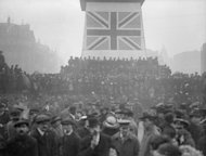 A War Loan rally in London put on by the British government tries to convince the public to invest in the country's WWI efforts