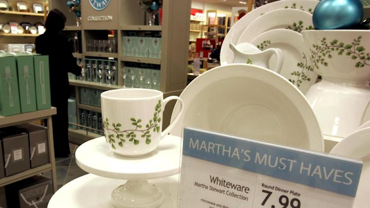 In this Wednesday, Nov. 7, 2007, file photo, Martha Stewart products are displayed in the Macy's store at the Kenwood Towne Centre,  in Cincinnati.  J.C. Penney and Macy's  are expected to duke it out in New York State Supreme Court over the right to sell Martha Stewart merchandise on Wednesday, Feb. 20, 2013. At the heart of the case, slated to begin Wednesday, is whether Macy's has the exclusive right to sell certain Martha Stewart products like some of its cookware, bedding, and bath items. Company founder Martha Stewart, J.C. Penney's CEO Ron Johnson and Macy's CEO Terry J. Lundgren could be called to testify during the trial, which could last three weeks. (AP Photo/Al Behrman)