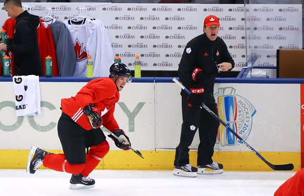 TORONTO, ON - SEPTEMBER 16: Sidney Crosby #87 charge up ice with Head Coach of Team Canada Mike Babcock at practice during the World Cup of Hockey 2016 at Air Canada Centre on September 16, 2016 in Toronto, Ontario, Canada. (Photo by Bruce Bennett/World Cup of Hockey via Getty Images)