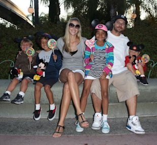Beta-chicken: Federline with his four kids and his girlfriend Victoria Prince, who just confirmed her pregnancy. (GSI Media)
