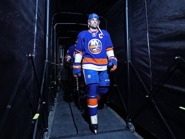 NEW YORK, NY - NOVEMBER 05: John Tavares #91 of the New York Islanders heads onto the ice before the game against the Edmonton Oilers at the Barclays Center on November 5, 2016 in New York City. (Photo by Al Bello/Getty Images)