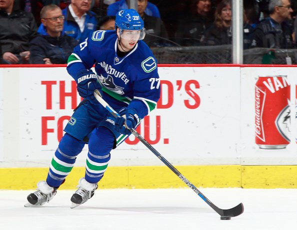 VANCOUVER, BC - DECEMBER 28: Ben Hutton #27 of the Vancouver Canucks skates up ice with the puck during their NHL game against the Los Angeles Kings at Rogers Arena December 28, 2016 in Vancouver, British Columbia, Canada. (Photo by Jeff Vinnick/NHLI via Getty Images)'n