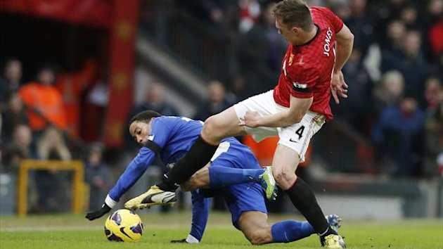 Phil Jones plays for Manchester United against Everton (Reuters)