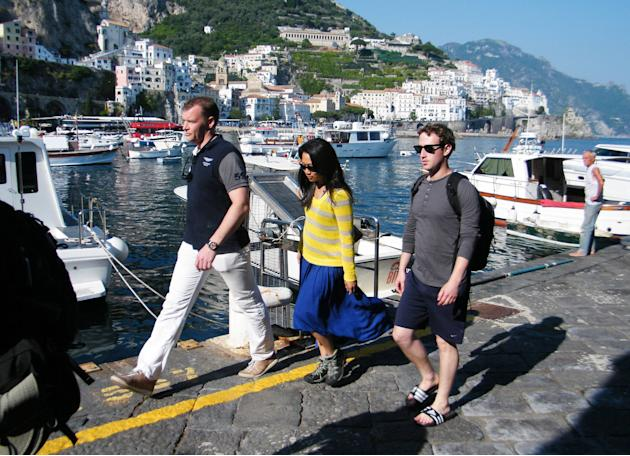 Mark Zuckerberg and his new bride Priscilla Chan spending their honeymoon on the Amalfi Coast Salerno, Italy - 29.05.12 **Available for publication in UK, Germany, Austria, Switzerland. Not available