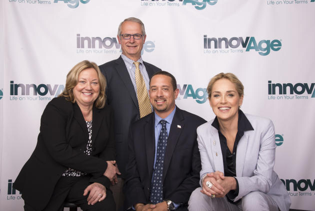 IMAGE DISTRIBUTED FOR INNOVAGE - From left to right, InnovAge CEO Maureen Hewitt, Former State Senator Bill Emmerson, Director of the Governor's Office of Business and Economic Development Kish Ra