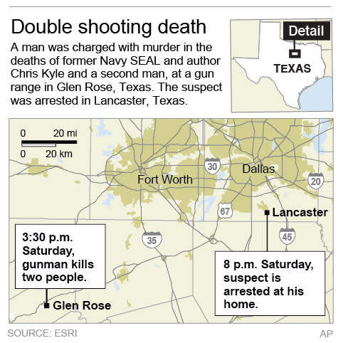 Map showns path of texas gunman following a double shooting