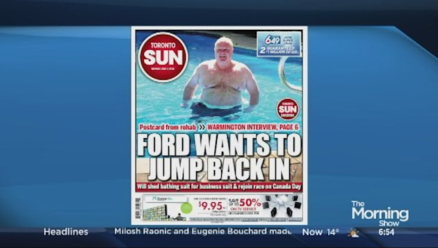 Cover of the Toronto Sun featuring Joe Warmington's rehab interview with Rob Ford.