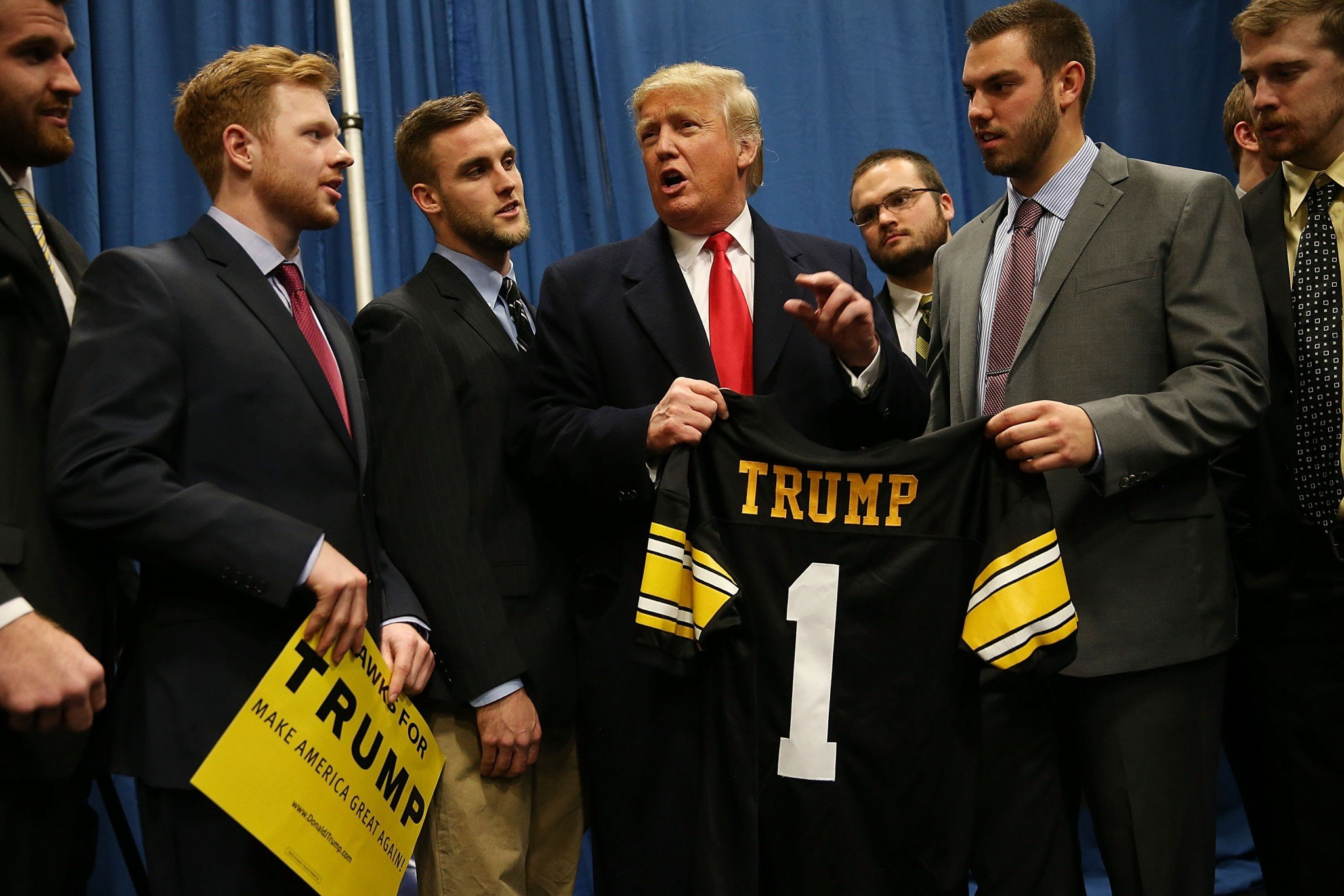 Donald Trump already has an Iowa jersey from visiting the state during his presidential campaign. (Getty)