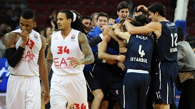 Anadolu Efes' players celebrate after beating Armani Milano during the Euroleague Top 16 group E match (AFP)