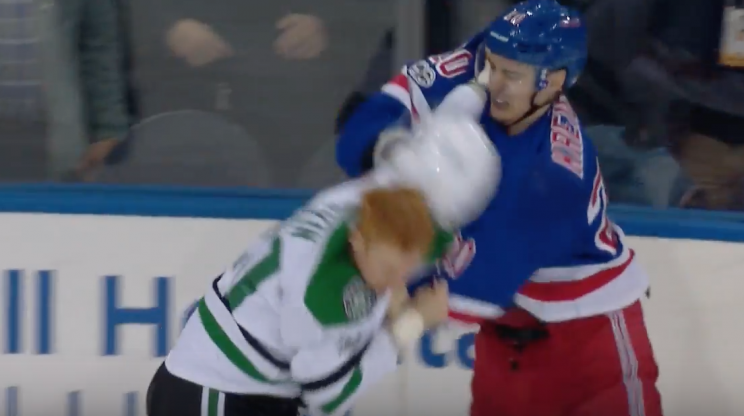Rangers player hits Stars player with his own helmet during a fight