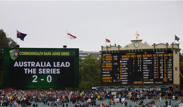 A general view of a board showing the series results and the score board after England lost the second Ashes cricket test against Australia at the Adelaide Oval