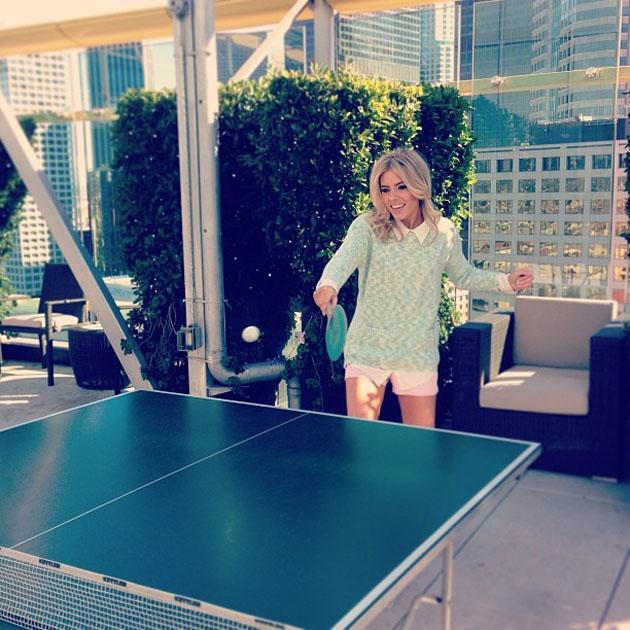 "Celebrity Twitpics: The Saturdays' Mollie King enjoyed a spot of table tennis during the girls' trip to America. The singer tweeted this photo alongside the caption: ""Mollie-pova."""