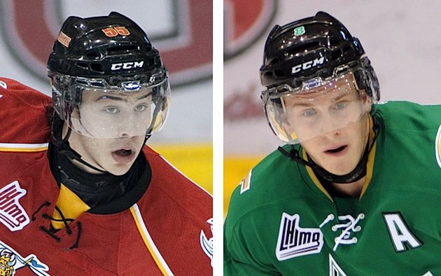 Baie-Comeau's Charles Hudon, left, leads his team in scoring with 15 points in as many games, while Anthony Mantha, right, leads all QMJHL playoff goal scorers with 18 goals. (Ghyslain Bergeron / CP)