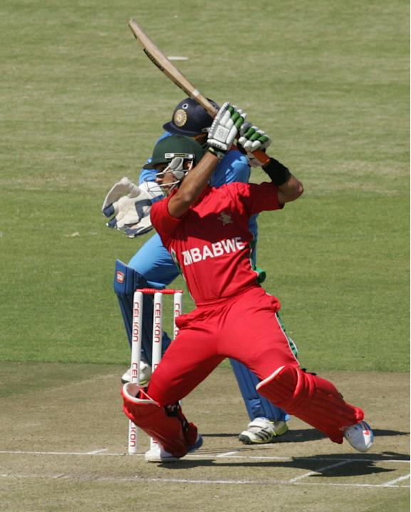 Zimbabwe batsman Sikanda Raza Butt bats during the first of the five ODI cricket series matches between India and hosts Zimbabwe at the Harare Sports Club on July 24 2013. AFP/PHOTO Jekesai Njikizana.