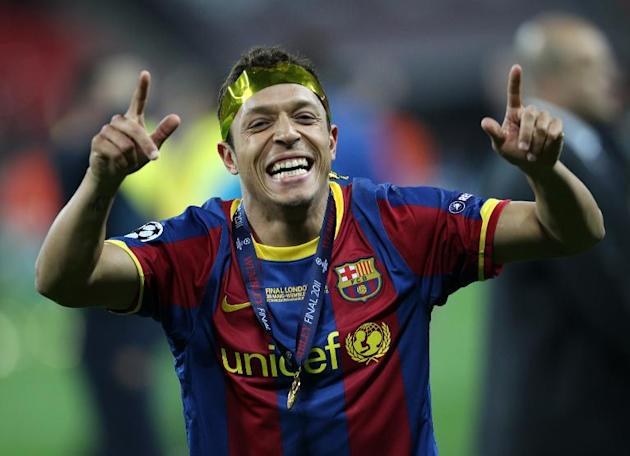 Barcelona's Brazilian defender Adriano celebrates at the end of the UEFA Champions League final match against Manchester United at Wembley stadium in London on May 28, 2011