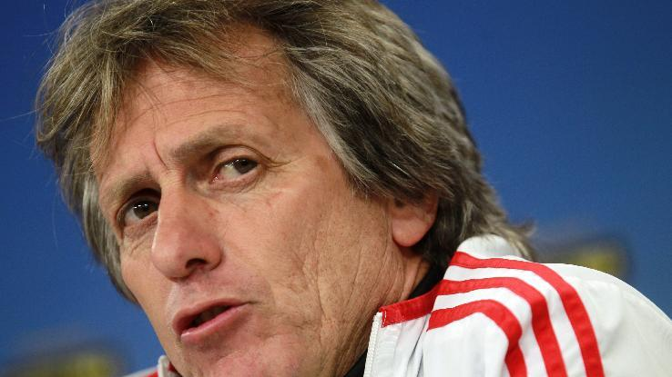 Benfica's coach Jorge Jesus talks to journalists during a news conference at Benfica's Luz stadium in Lisbon, Wednesday, April 23, 2014. Benfica will play against Juventus in a Europa League semifinal first leg soccer match on Thursday in Lisbon