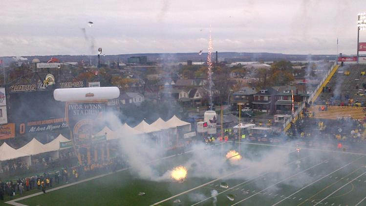 Fireworks ignite at Ivor Wynne Stadium in Hamilton for the final regular season CFL game at the stadium before demolition.