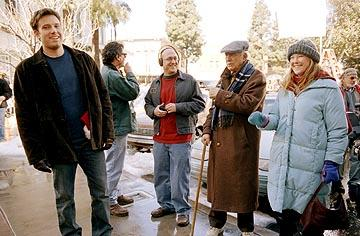 Ben Affleck , director Mike Mitchell , Bill Macy and Catherine O'Hara on the set of Dreamworks' Surviving Christmas